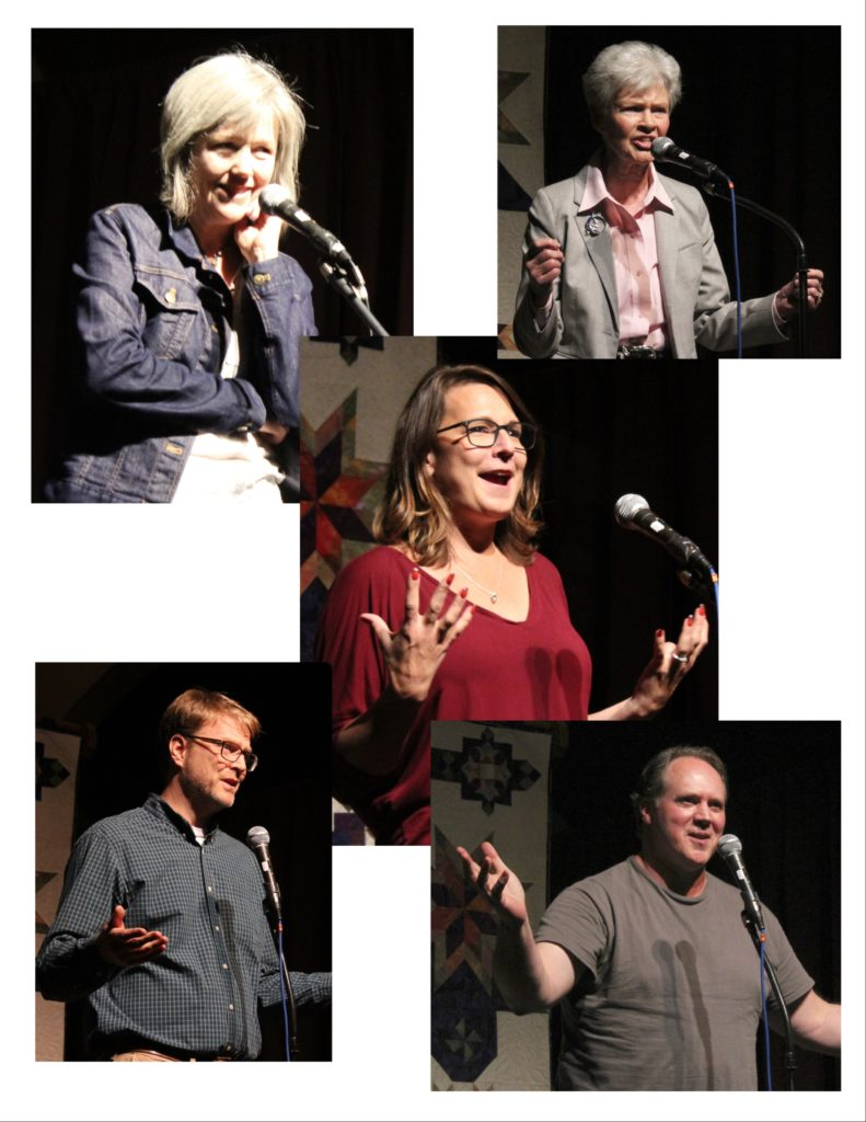 Story slam tellers have a great time.